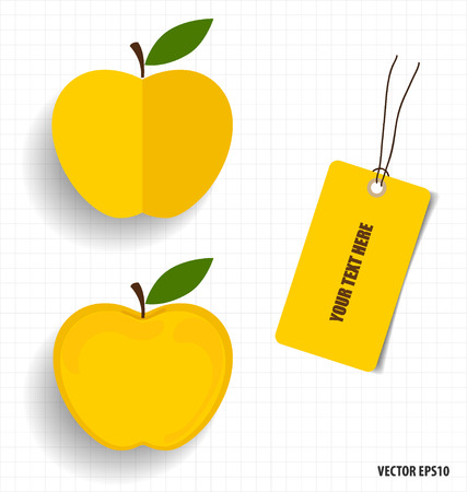 Cute note papers and apple, welcome back to school. Vector illustration. Vector