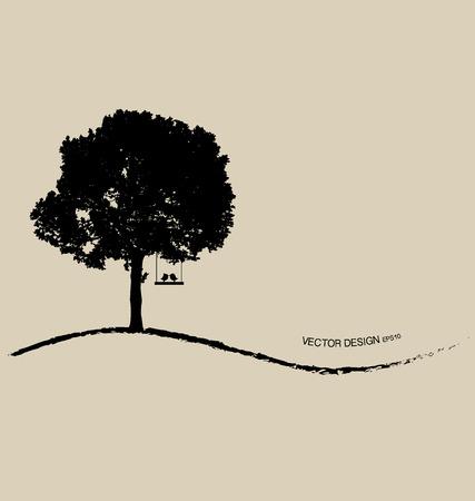 autumn tree: Tree silhouettes. Vector illustration.