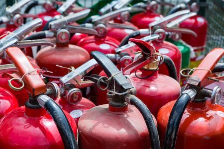 extinguishers: Old fire extinguishers Stock Photo