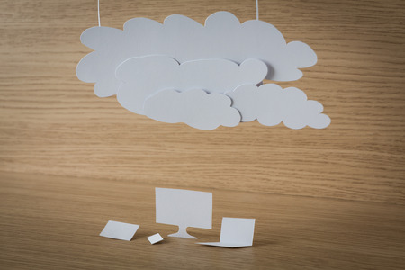 Paper cut of Cloud computing concept on wood photo