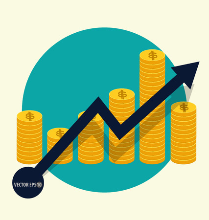 staaf diagram: Financieel succes concept. Coin staafdiagram zakelijke infographic. Vector illustratie. Stock Illustratie