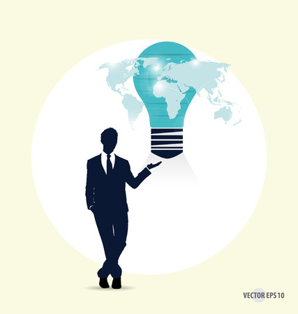 Businessman with light bulb on his hand concept for idea. Vector illustration. Vector