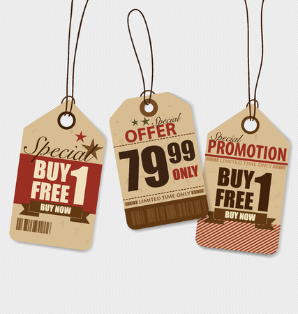 clothing tag: Price tag, sale coupon, voucher. Vintage Style template Design vector illustration. Illustration