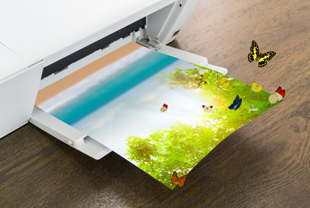 butterfly stationary: Printer with green leaf and butterfly , Summer time