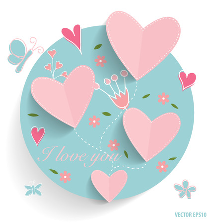 love mom: Cute card with heart and floral bouquets, vector illustration.