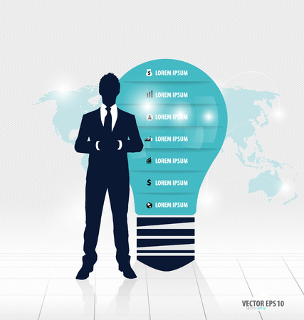 Businessman showing light bulb with Infographic design template. Vector illustration. Vector