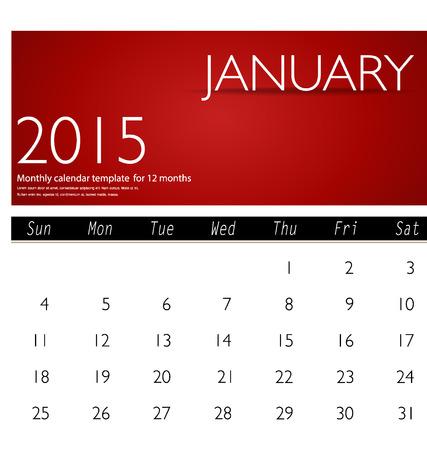 Simple 2015 calendar, January. Vector illustration. Vector