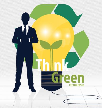 recycle symbol vector: Think green, Eco concept. Light bulb with Tree and Recycle symbol. Vector illustration.