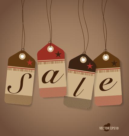 arrivals: Price tag, sale coupon, voucher. Vintage Style template Design vector illustration. Illustration