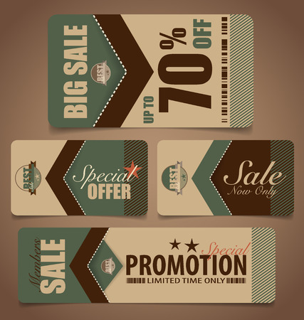 Sale Coupon, voucher, tag. Vintage Style template Design vector illustration. Vector