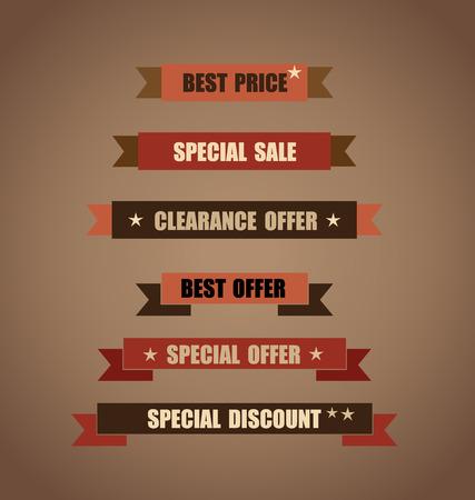 arrivals: Price tag, ribbon, sale coupon, voucher. Vintage Style template Design vector illustration.