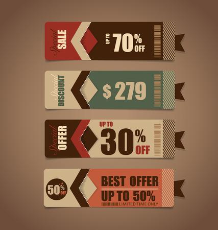arrivals: Sale Coupon, voucher, tag. Vintage Style template Design vector illustration. Illustration
