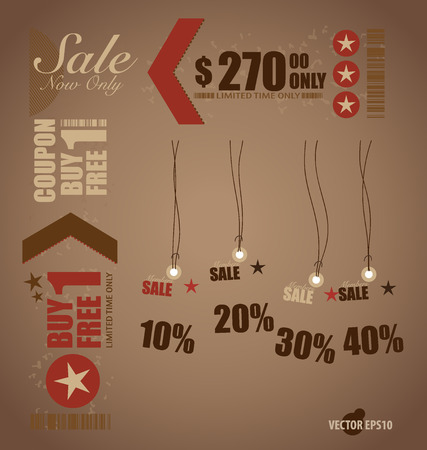 Word for Price tag, sale coupon, voucher. Vector illustration. Vector