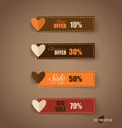 new arrivals: Price tag, ribbon, sale coupon, voucher. Vintage Style template Design vector illustration.