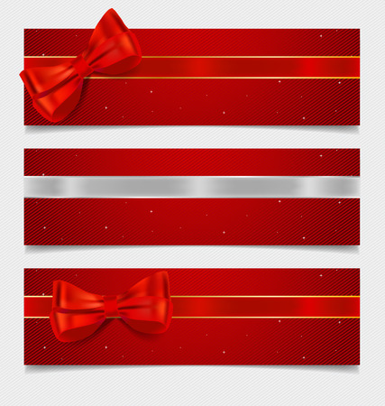 ribbons and bows: Card note with gift bows and ribbons. Vector illustration. Illustration