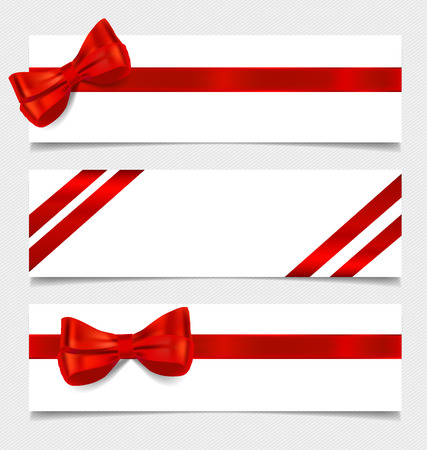 Cards with red gift bows and red ribbons. Vector illustration. Vector
