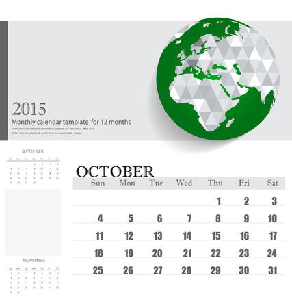 kalender oktober: Eenvoudige 2015 kalender, oktober. Stock Illustratie