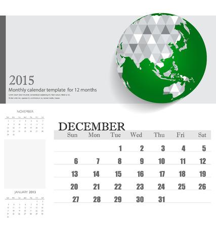 Simple 2015 calendar, December.  Vector