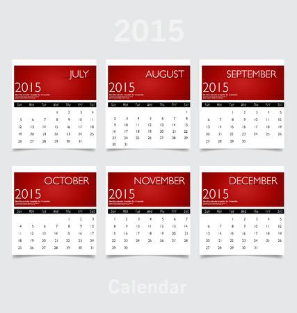 Simple 2015 year calendar (July, August, September, October, November, December).