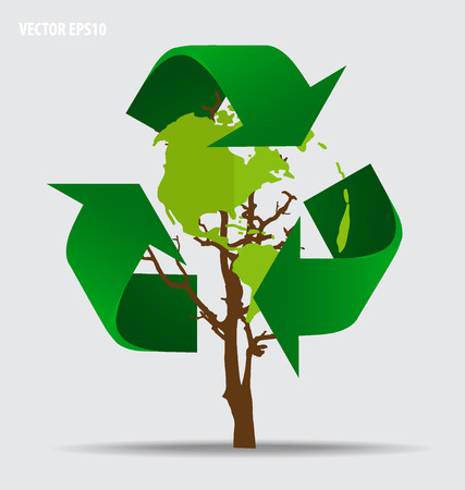 Think green, Ecology concept. Tree with Recycle symbol, Illustration. Vector