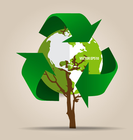 Think green, Ecology concept. Tree with Recycle symbol, Illustration.