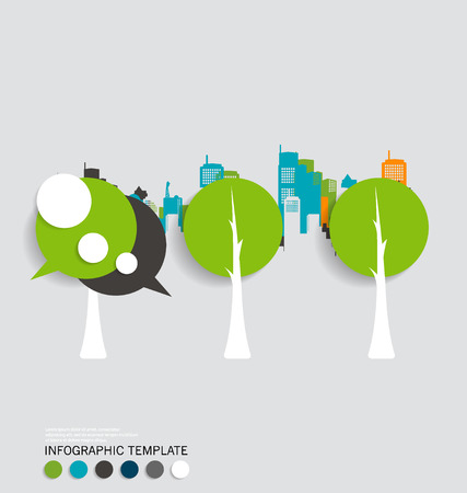 Modern infographics template style. Bubble speech , tree and building background.  Vector