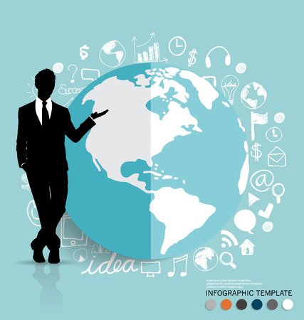 Businessman showing modern globe with application icon, modern template design.  Vector