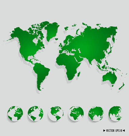 australia map: World map and earth globes.