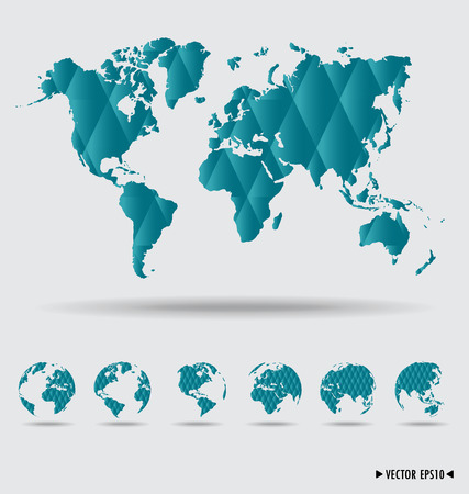 World map and earth globes.  Vector