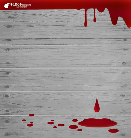 Blood dripping on wood wall, blood background.