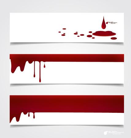 해피 할로윈 디자인 배너. 혈액 종이, 혈액 배경에 뚝뚝 떨어지는입니다.