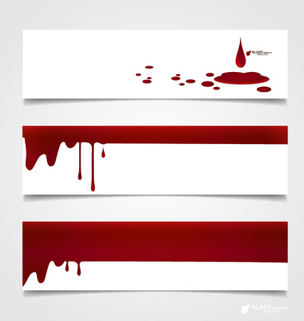 Happy Halloween design banners. Blood dripping on paper, blood background.