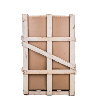 Cardboard boxes with wooden reinforcement photo
