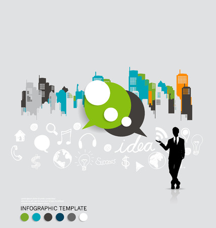 Modern infographics template style. Businessman with bubble speech and building background. Vector illustration. Vector