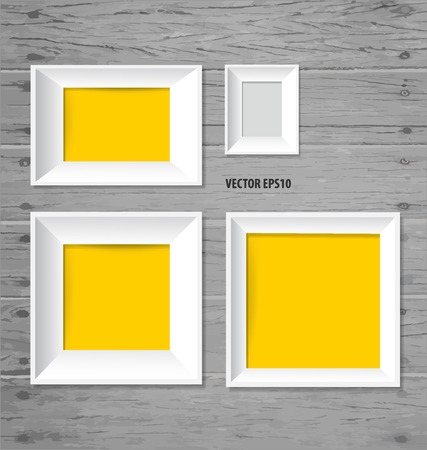 background photo: White modern frames on the wood wall, vector illustration. Illustration
