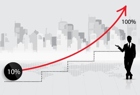 Negocios gráfico cada vez mayor con el empresario. Ilustración del vector.