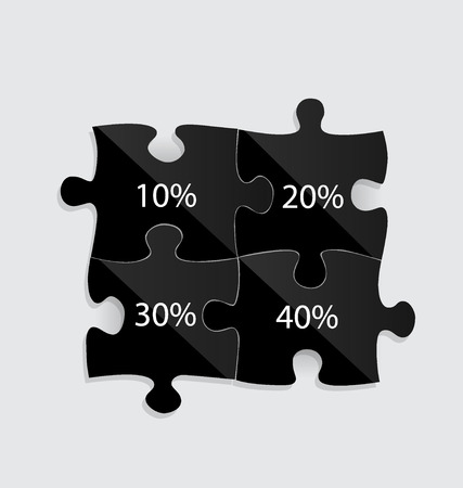 puzzle shadow: Modern infographics template style. Business puzzle pieces . Vector illustration.