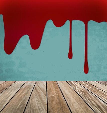 Happy Halloween. Blood dripping on brick wall. Vector illustration.