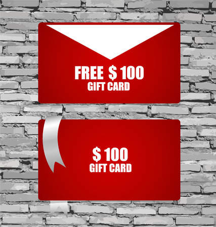 Gift Cards with gift bows and ribbons. Vector illustration. Vector