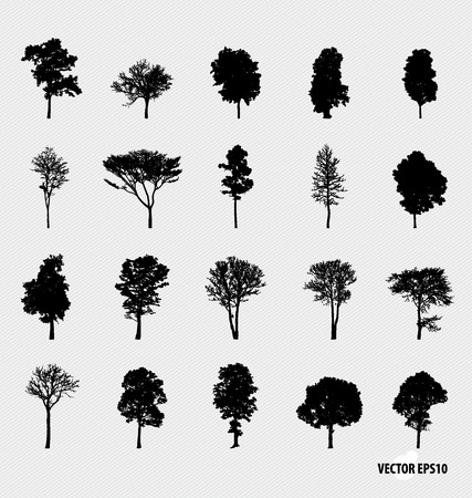 Set of tree silhouettes. Vector illustration. Çizim