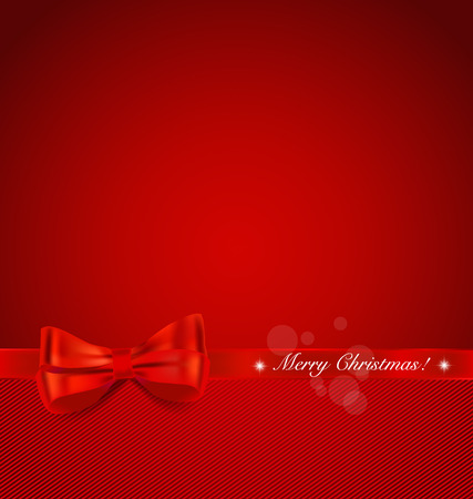 red and white: Christmas background. Shiny ribbon on red background. Vector illustration.