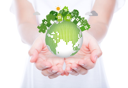 Woman hands over body hold eco friendly earth Imagens - 32287725