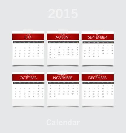 Simple 2015 year calendar (July, August, September, October, November, December). Vector illustration. Vector