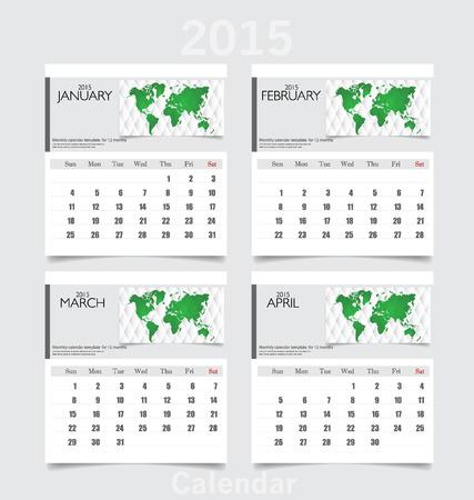 Simple 2015 year calendar (January, February, March, April). Vector illustration. Vector