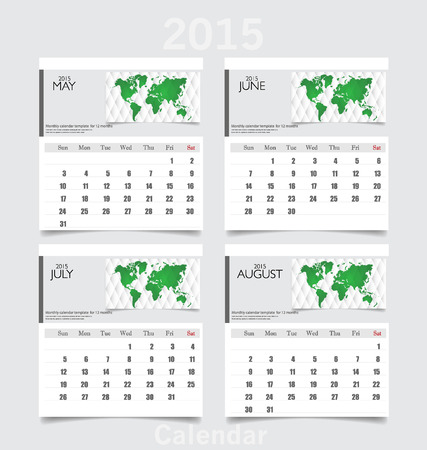 Simple 2015 year calendar (May, June, July, August). Vector illustration. Vector