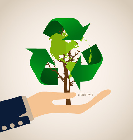 recycle symbol vector: Think green, Ecology concept. Tree with Recycle symbol, vector Illustration. Illustration