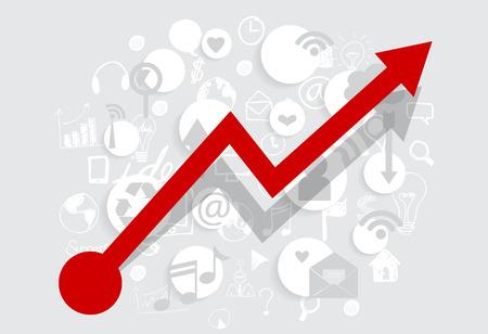 stock trader: Negocio gr�fico cada vez mayor con la aplicaci�n. Ilustraci�n del vector.