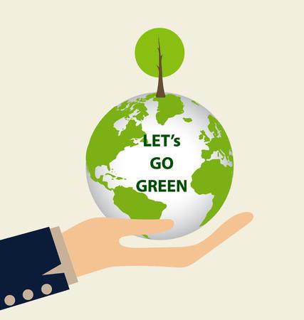 earth in hand: Verde Eco Tierra, mano que sostiene la tierra verde con el �rbol. Ilustraci�n del vector. Vectores