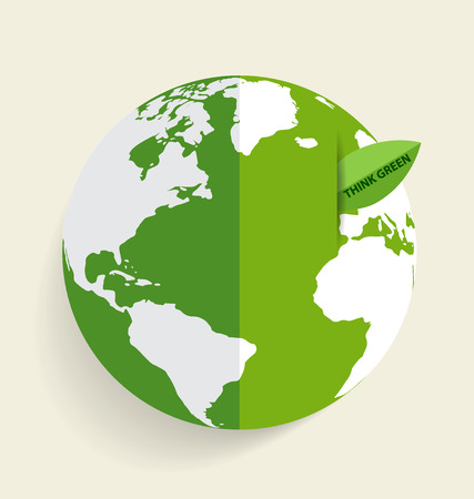 Green Eco Earth, Green earth with green leaf. Vector Illustration Vector