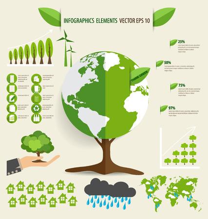 go green background: Ecology Infographics design elements. Vector illustration. Illustration
